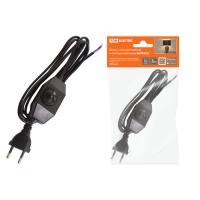 Шнур с плоской вилкой и светорегулятором ШУ05С2 (200Вт, RL) ШВВП 2х0,75мм2 2м. черный TDM (SQ1305-00